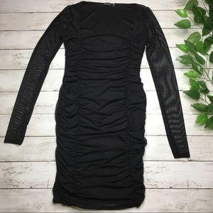 Nasty Gal Dresses - NASTY GAL Ruched Mesh Black Dress Size 4